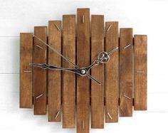 Reloj madera, reloj de pared, reloj de pared de madera, reloj de pared moderno, reloj Steampunk, reloj rústico, Industrial pared reloj, decoración geométrica, Romb I