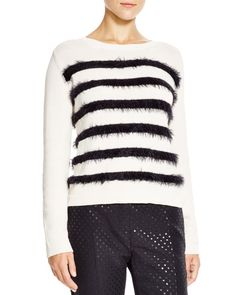 Weekend Max Mara Abramo Faux Fur Stripe Sweater