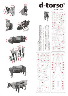 Cow123_black d-torso paper craft by Aki Co.,Ltd.