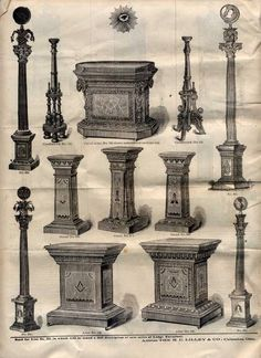 Masonic furniture: Jachin, Boaz, the altar, the Eye of Providence, podiums, representations of the heavens and the earth along with candle holders for two of the three lesser lights.: