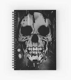 #notebook #Skull with Paint Drips - Black and White by Denis Marsili - DDTK