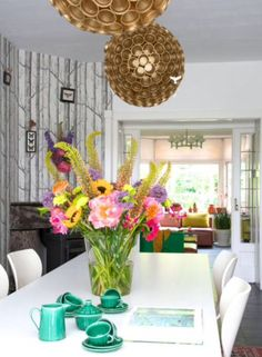"These quirky chandeliers are from our feature ""Vivid Vibes"""