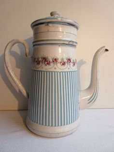 Old French coffee pot, enamelled sheet Roses Garlands, blue stripes, signed BB