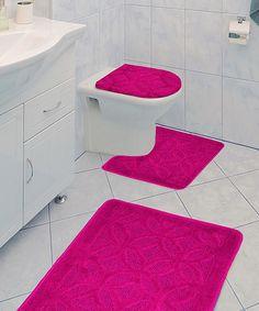 This Fuchsia Aries Three Piece Bathroom Rug Set Is Perfect! #zulilyfinds