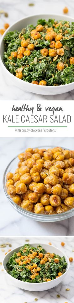 The BEST kale caesar salad that is coated in a creamy vegan dressing and topped with crispy garlic chickpeas!