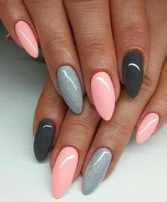 The best ideas for manicure 2018 for long nails - nails art - . - The best ideas for manicure 2018 for long nails – nails art – Be - Natural Nail Designs, Grey Nail Designs, Acrylic Nail Designs, Almond Acrylic Nails, Almond Shape Nails, Nailed It, Gray Nails, Matte Nails, Pink Gel Nails