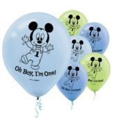 Latex Mickey Mouse 1st Birthday Balloons 15ct