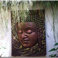 Thai Villa Decor - Bronzed Buddha Wall Art