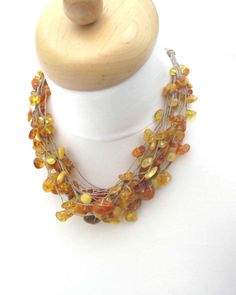 Linen Necklace Raw Natural Baltic Amber Fishing by DreamsFactory