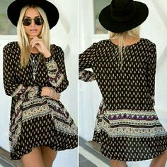 f5c0919d71c5 Women Vintage Retro Bohemian Style Boho Summer Beach Long Sleeve Mini Dress  M in Clothing