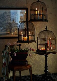 Love the candles in the birdcages!