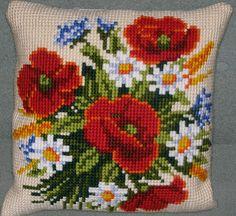 I make thıs Cross Stitch Pillow, Cross Stitch Rose, Beaded Cross Stitch, Cross Stitch Flowers, Cross Stitch Charts, Folk Embroidery, Cross Stitch Embroidery, Cross Stitch Landscape, Crochet Cushions