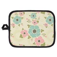 "Nostalgic flowers Potholder Beige seamless vintage pattern ""Nostalgic flowers""  $10.39"