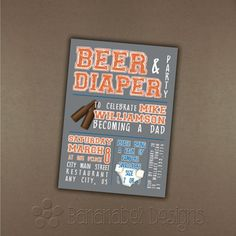 Beer & Diaper Party - Daddy Baby Shower Invitation