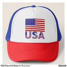 USA Flag with Name Trucker Hat
