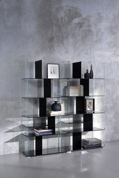 Double-sided glass #bookcase LIDO - @coedition