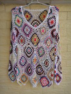 White Womens Blouse Long Sleeve Jumper Handmade Crochet Top Granny Square Pattern