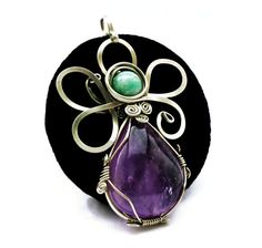 Wire Wrap Flower Pendant with Amethyst and Amazonite by Hyppiechic, $40.00