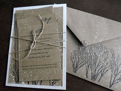 Winter Wedding Invitation hand stamped and by everafterpapery, $415.00