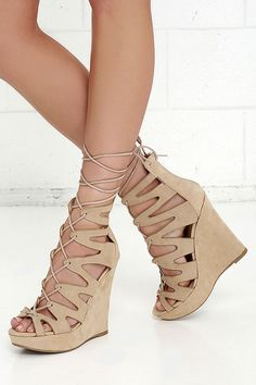 4a6b83032e Perfect Form Natural Suede Lace-Up Platform Wedges at Lulus.com! Climbing  Shoes