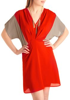 $31.99 In Sharp Contrast Dress - Mid-length, Grey, Color Block, Pleats, Short Sleeves, Red, Casual, A-line