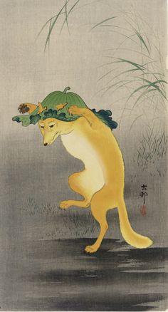Dancing fox, ca. 1910, OHARA Koson, (Japanese, 1877 - 1945), Meiji era, Woodblock print; ink and color on paper, H: 37.5 W: 19.0 cm  Japan