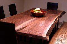 Live edge black walnut harvest table