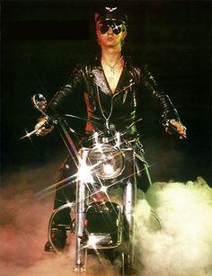 Judas Priest's Rob Halford on his bike 1982
