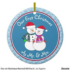 Our 1st Christmas Married Gift Fun Snow Couple Ceramic Ornament