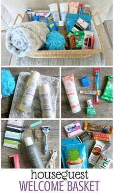 Houseguest Welcome Basket -- A thoughtful way to welcome out of town visitors! Fill a gift basket with essentials (shampoo, toothpaste, etc.) but also add in some fun snacks, new hair ties, a bottle of water, etc.