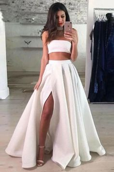 Cute Two Pieces Prom Dresses, Prom Dresses Long, 2019 Prom Dresses, Lace White Prom Dresses Outlet Fine Prom Dresses Long Two Piece Strapless FloorLength White Lace Prom Dress With Split Wite Prom Dresses, Split Prom Dresses, Prom Dresses Two Piece, Prom Dresses 2018, Prom Party Dresses, Occasion Dresses, Dress Prom, Dress Lace, Maxi Dresses