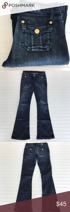 "Rock & Republic Jeans, Scorpion, Size 27 Rock & Republic Jeans, Scorpion, Size 27 Giving you the butt you never had! Elongates the legs, great jean to dress up! Shinny gold buttons! Inseam 34.5"" Comes from a smoke free home. Check out my other listings for a bundle deal! Happy Shopping Rock & Republic Jeans"