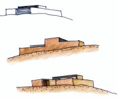 Sketch of sides Architecture Concept Drawings, Architecture Graphics, Modern Architecture, Sketch 2, Gallery, Wood, Studio Ideas, Models, Minimalist Home