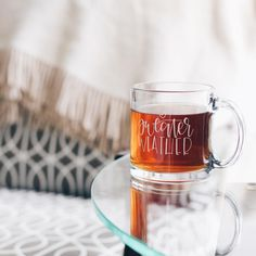 Sweater Weather glass mug hand lettered by Chalkfulloflove.