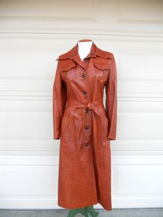 Vintage 70s Leather Trench Coat . Burnt Orange . Sunrise Leather Co. XS, S on Etsy, $65.00