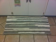 "My first ""Tarn"" (t shirt yarn) project! New kitchen rug made from old t-shirts!!!"