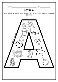 Letra A/ palavras - Atividades Adriana Alphabet Crafts, Alphabet Activities, Hands On Activities, Preschool Decor, Nursery Book, Spanish Teaching Resources, Spelling Games, Teaching Letters, Library Displays