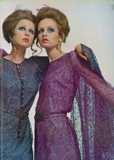 Pattie Boyd and Twiggy. Love the sheer colored dresses, love the blue eyes, love the updos.