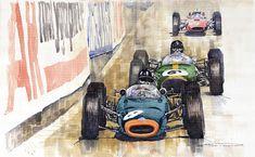 Watercolour Painting - Monaco Gp 1964 Brm Brabham Ferrari by Yuriy  Shevchuk