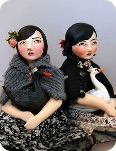 Females with swans dolls - Christine Alvarado