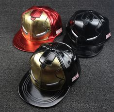 MARVEL Iron Man Snap Back Caps. Comes in 3 colors  red black gold Adult 407e033702e