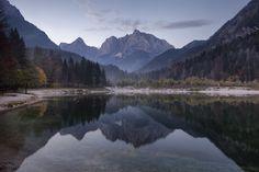The mountains Razor and Prisojnik reflected in Jasna Lake