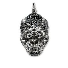 Rebel leader: The expressive and at the same time filigree gorilla head pendant in blackened 925 Sterling silver and with black zirconia pavé and black enamel is inspired by the Hindu monkey god Hanuman. Decorated with cultural tattoo ornamentation, it is thought to bring protection and strength to its wearer.