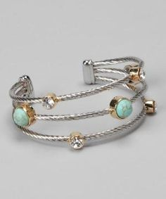 Turquoise & Silver Multi-Strand Cuff by jaime