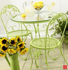 patio set painted bright green
