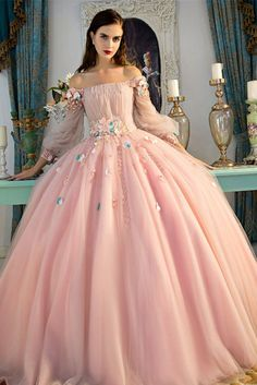 Graceful Pink Ball Gown Prom Dresses Long Sleeve Lace Appliques Lace-up Special Occasion Dresses Sweet Design Evening Dresses Floral Prom Dresses, Princess Prom Dresses, Prom Dresses Long With Sleeves, Quince Dresses, Lace Evening Dresses, Cheap Prom Dresses, 15 Dresses, Flower Dresses, Dress Long
