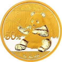 2017 China Bullion Chinese Panda 50 Yuan 3 gram .999 Gold Coin BU