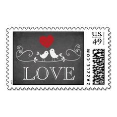 Our vintage cute love birds modern chalkboard blackboard weddinglove postage stamps is the perfect finishing touch to your save the date wedding announcement or  save the date magnets.   Modern love postage stamp features a cute pair of love birds with a red heart sitting on a flourish branch set on a popular & modern blackboard chalkboard background.  Matching invitations, thank you notes & stickers available in our shop