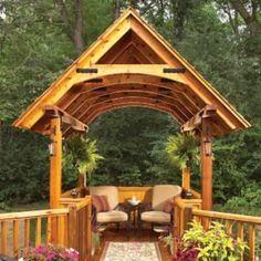 Learn how to build a pergola in your backyard to shade a stone patio or deck. These pergola plans include wood beams and lattice set on precast columns. Diy Gazebo, Grill Gazebo, Gazebo Plans, Pergola Canopy, Outdoor Pergola, Pergola Kits, Pergola Ideas, Pergola Roof, Cheap Pergola