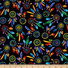 Timeless Treasures Out West Dreamcatchers Brite from @fabricdotcom  From Timeless Treasures, this southwestern inspired collection will make you want to kick off your boots. Perfect for quilting, apparel and home decor accents. Colors include red, orange, yellow, green, shades of blue, purple and black.